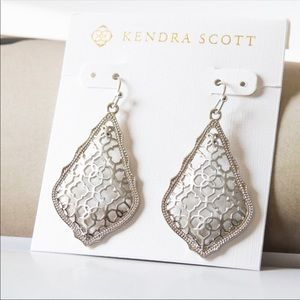 NWT Kendra Scott Addie Silver Drop Earrings Filigr